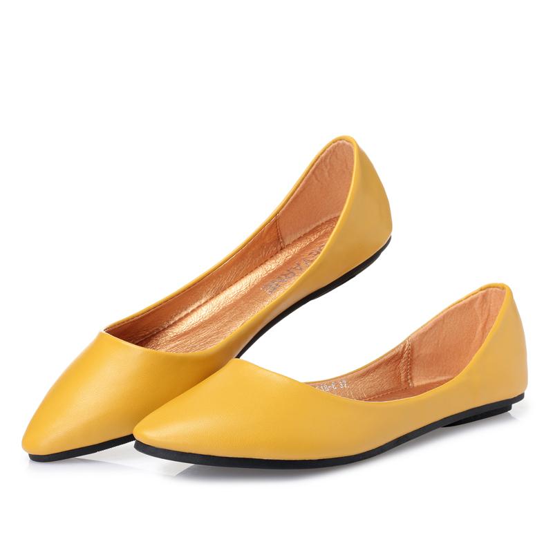 2019夏季浅口软底平底鞋女鞋百搭大码软皮尖头女单鞋女士船鞋瓢鞋