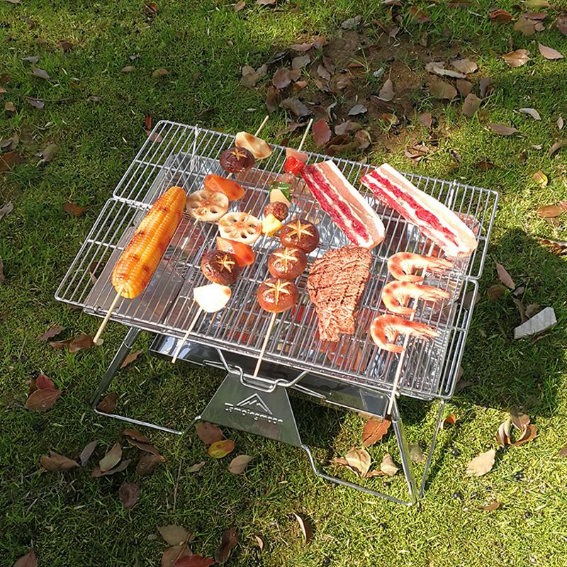 柯曼轻便烧烤架家用木炭烤炉不锈钢加厚户外烤肉炉野外折叠碳烤炉【图4】