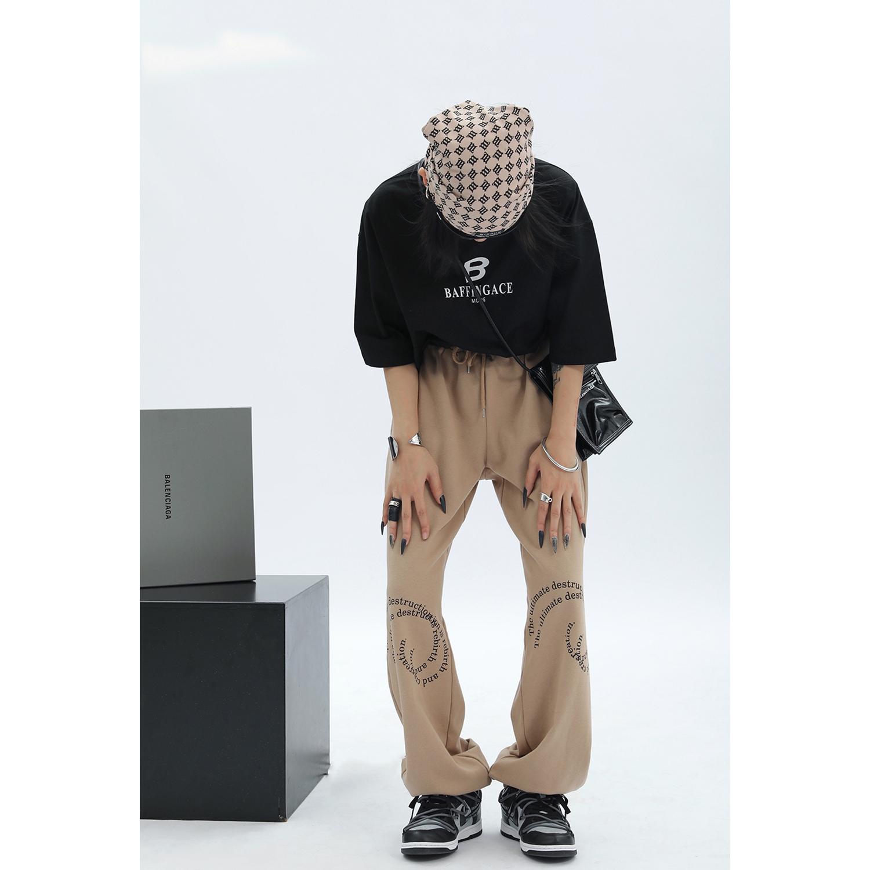 Ace 字母印花设计感卫裤女2021秋新款宽松束脚裤美式高街运动裤潮