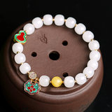 Xiang Zhen Fu natural Hotan hand string of female with beeswax cloisonne wishful lock 925 silver white jade bracelet