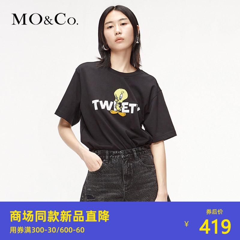 杨幂同款-MOCO春季新品TWEETY崔弟纯棉亲肤T恤MBO1TEE011摩安珂