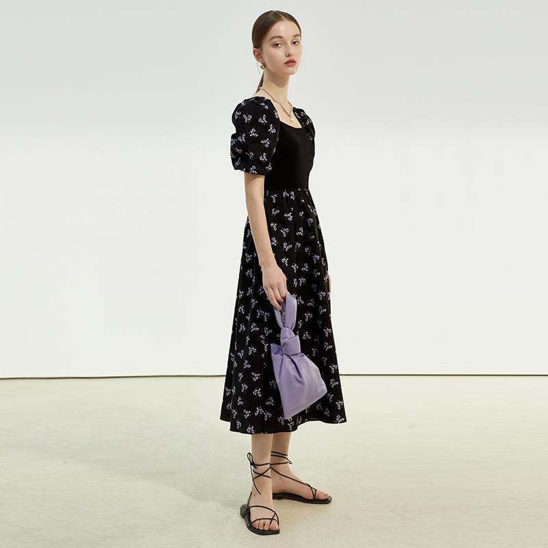 裙女黑色茶歇裙气质泡泡袖裙子