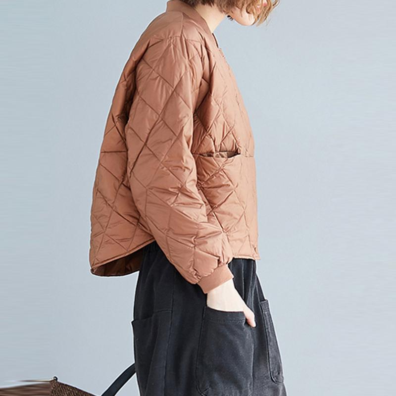 秋冬文艺时尚保暖竖排扣内搭棉衣女不规则棉服纯色格子夹棉短外套