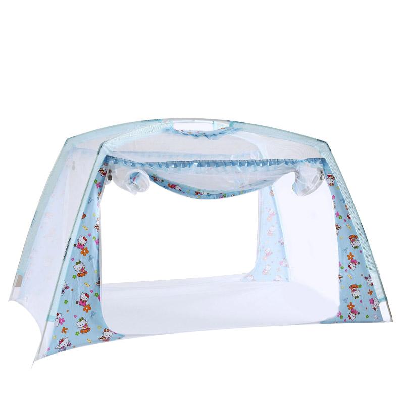 婴儿床蚊帐带支架可折叠有底宝宝小孩蒙古包纹账罩儿童小床公主粉