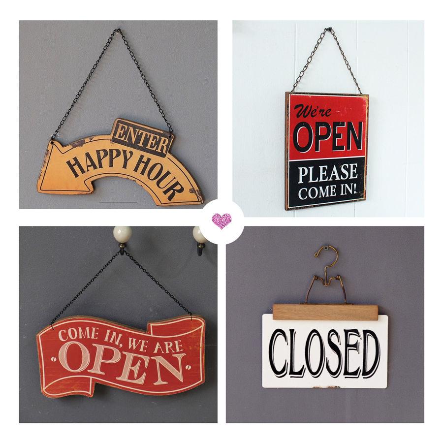 美式鄉村咖啡廳服裝店酒吧掛牌店鋪營業時間創意雙面歡迎OPEN門牌