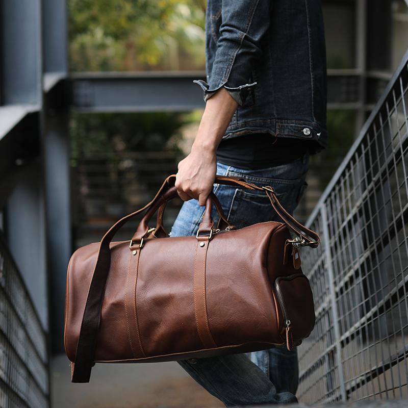 带鞋仓真皮手提行李袋复古头层牛皮大容量单肩斜挎旅行包包 ZEEMOO