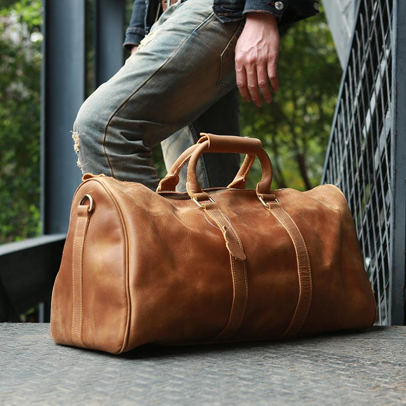 原创设计新品复古男士真皮手提行李袋头层牛皮疯马皮旅行包 ZEEMOO