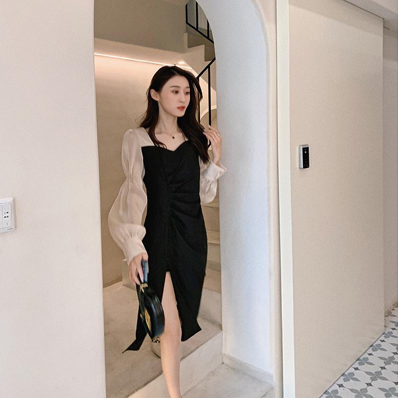 果果家 女装2021年新款仙女连衣裙法式超仙短袖复古中长款裙子夏