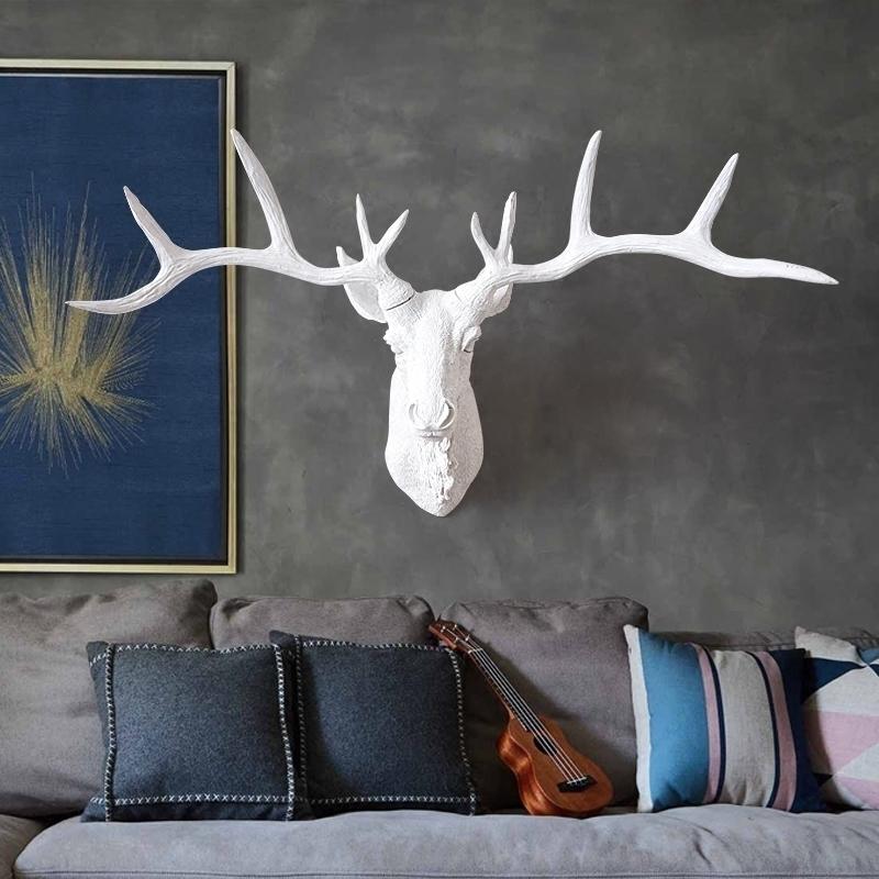 鹿頭壁掛壁飾創意裝飾品牆面復古掛件酒吧牆上客廳歐式動物頭牆飾