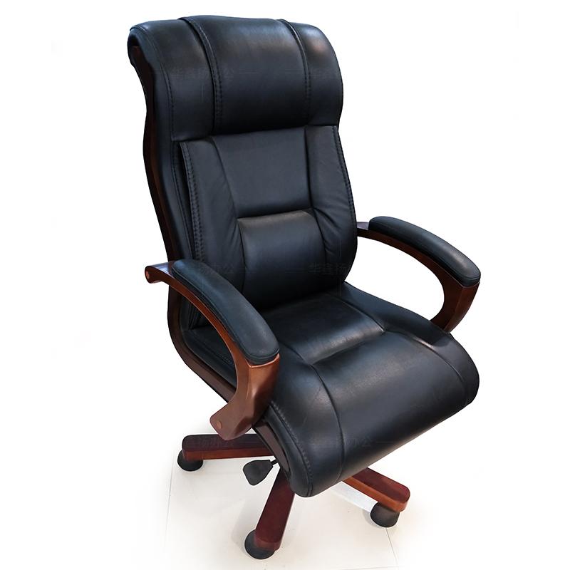 成都真皮老板椅经理办公室中式实木皮椅总裁大班台椅家用电脑椅