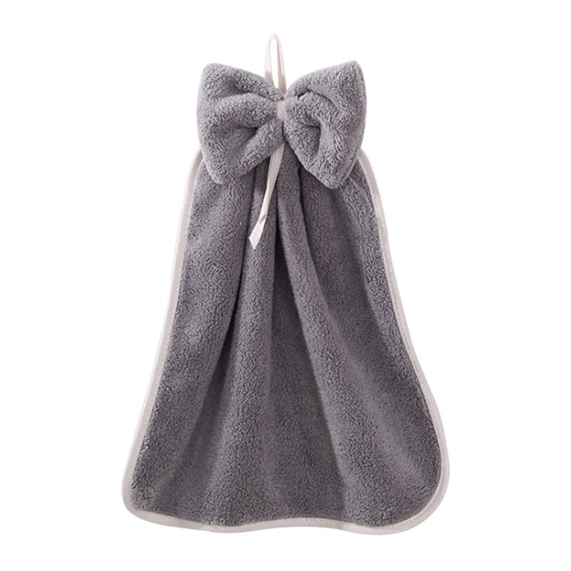 千屿擦手巾加厚珊瑚绒吸水挂式家用蝴蝶结抹布清洁神器单