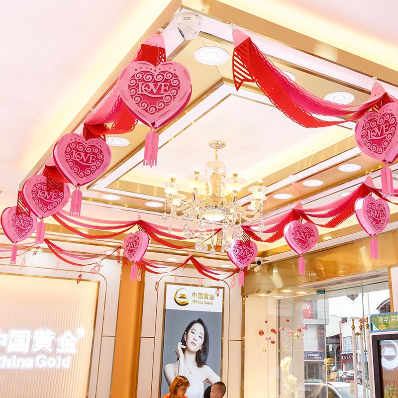 开业周年庆装饰店铺商场珠宝店吊旗 活动氛围场景布置创意波浪旗
