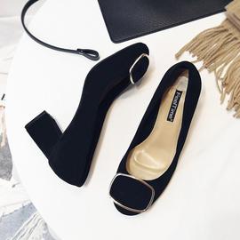 2019春款春季绒面职业5cm圆头中跟工作鞋黑色高跟鞋粗跟单鞋女鞋