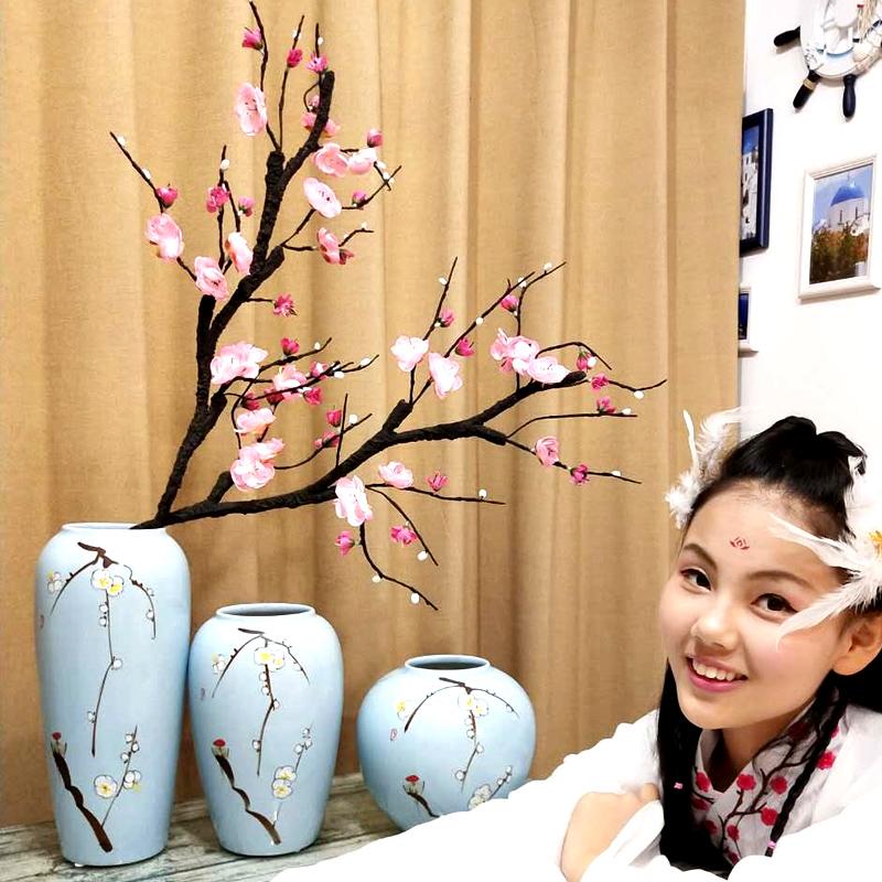景德镇现代新中式陶瓷花瓶摆件 客厅插花干花酒柜玄关家居装饰品