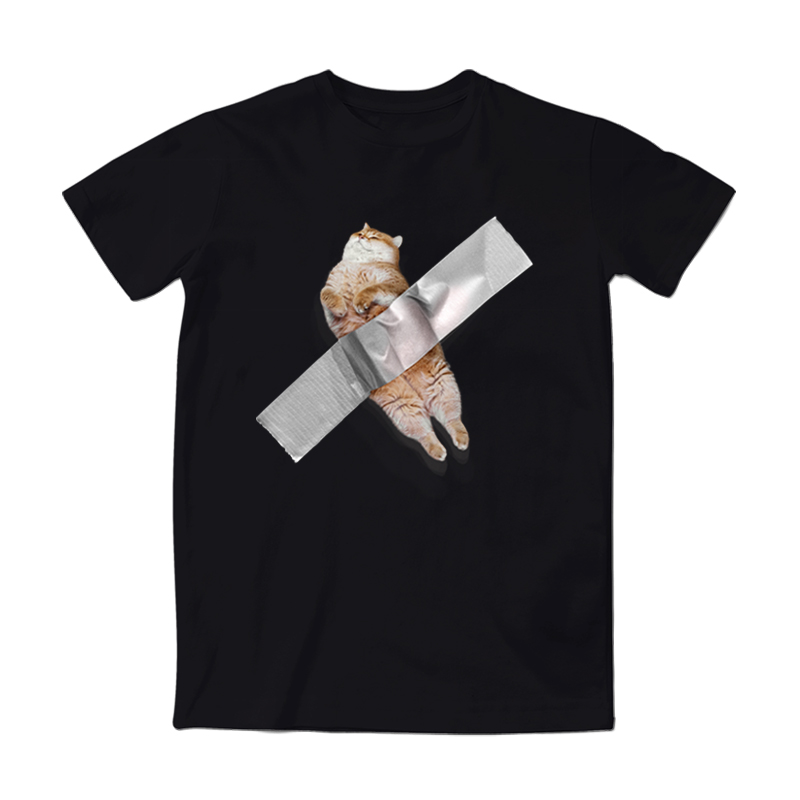 一杠原创 Hosico胶带猫咪萌宠文化恶趣味搞怪宽松男女情侣短袖T恤主图