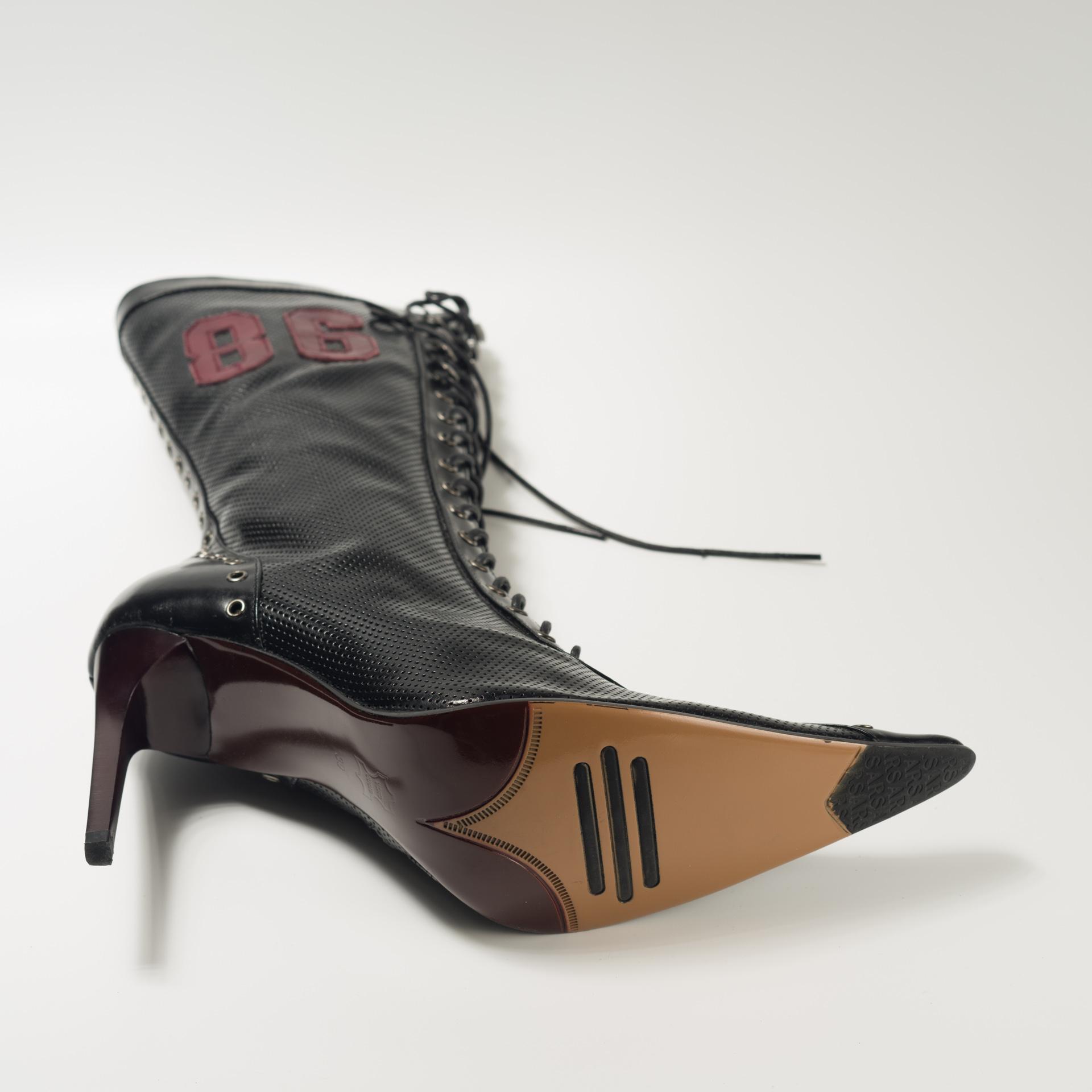 独家新款前男友复古尖头放克女靴里外全皮绑带主持表演 高筒靴子