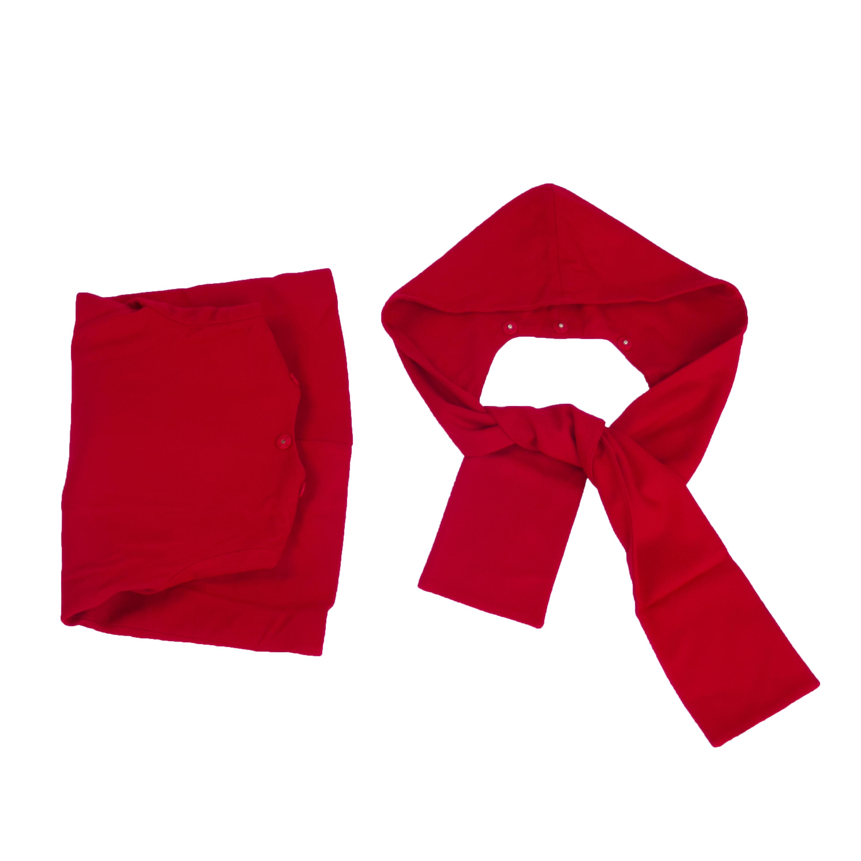 女童红色羊毛大衣围巾帽子两件套儿童连帽红呢子大衣毛呢外套秋装