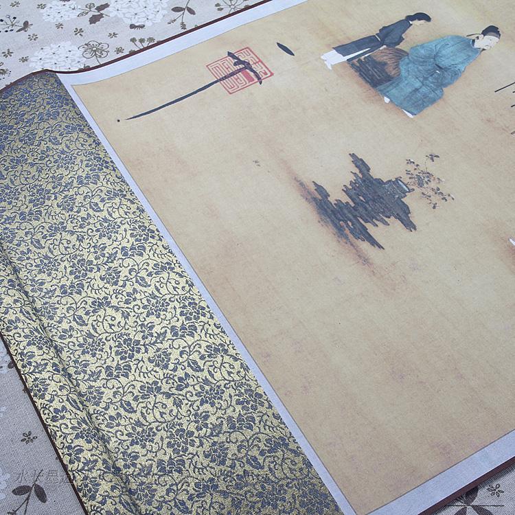 真迹原大复制品宋徽宗听琴图挂轴画61x181cm中式卷轴画已装裱国画