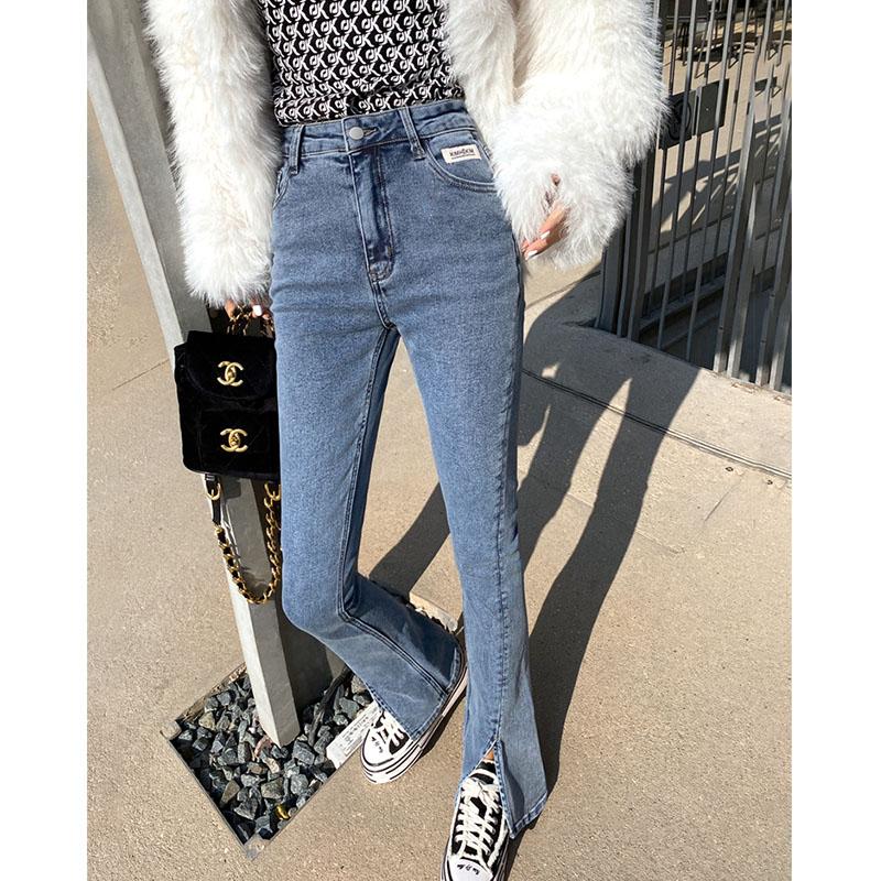 开叉牛仔裤女新款微喇叭裤子高腰显瘦2021春款女装紧身开衩拖地裤