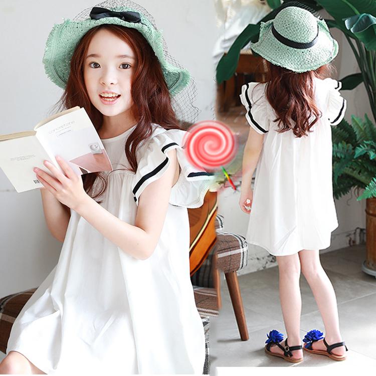 韓國女童沙灘裙兒童公主裙海軍母女白色親子長裙2019海邊度假夏裝