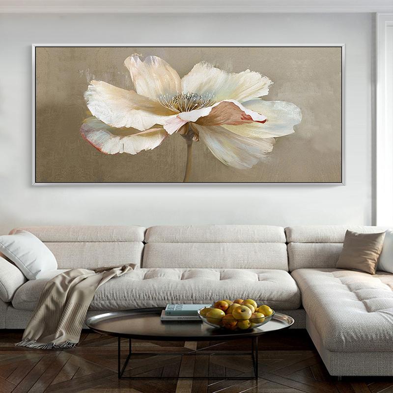純手繪抽象花卉油畫現代風景床頭臥室沙發背景墻酒店北歐掛畫橫版