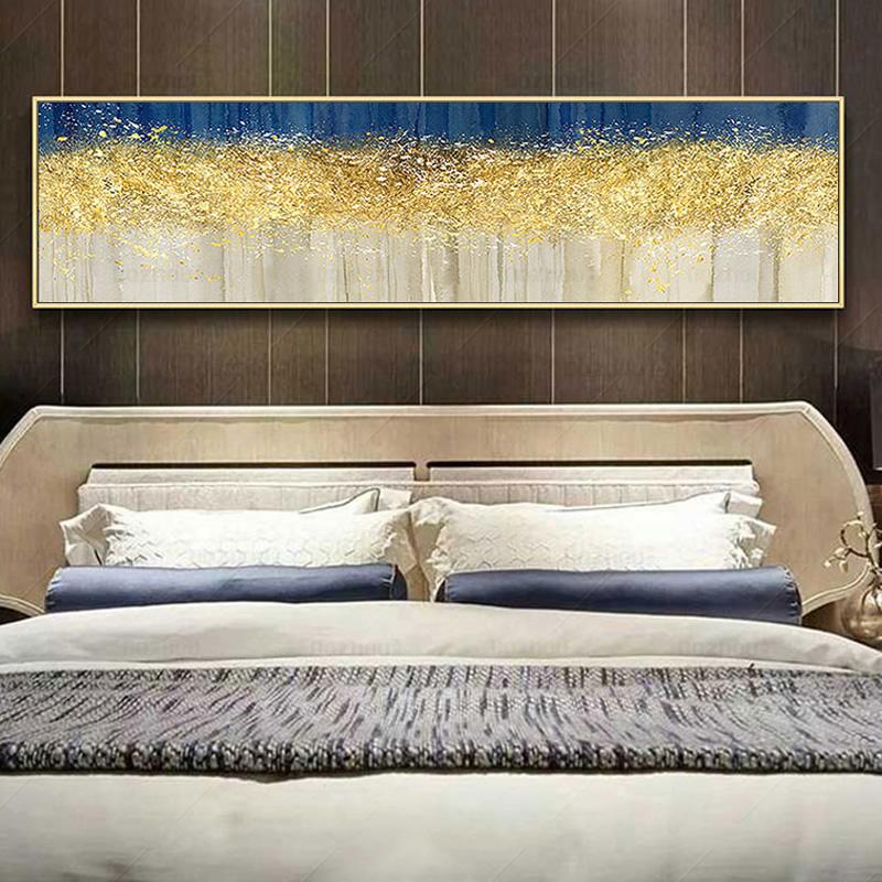 純手繪抽象油畫發財樹客廳床頭沙發背景墻輕奢北歐風格掛壁畫橫版