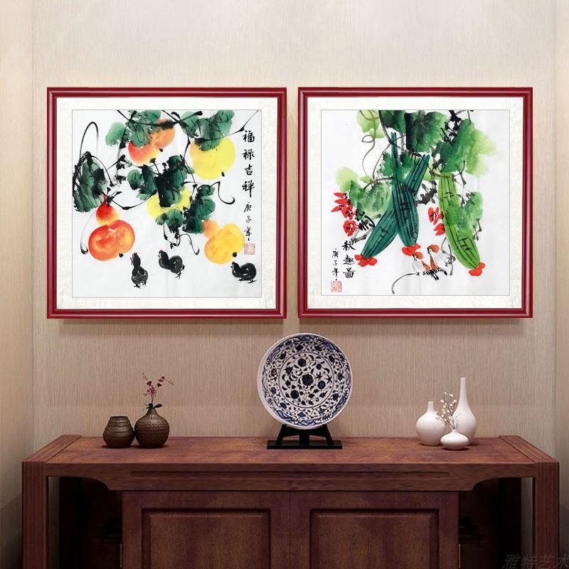 純手繪國畫花鳥畫餐廳玄關中式裝飾畫書房掛畫小斗方花鳥事事如意