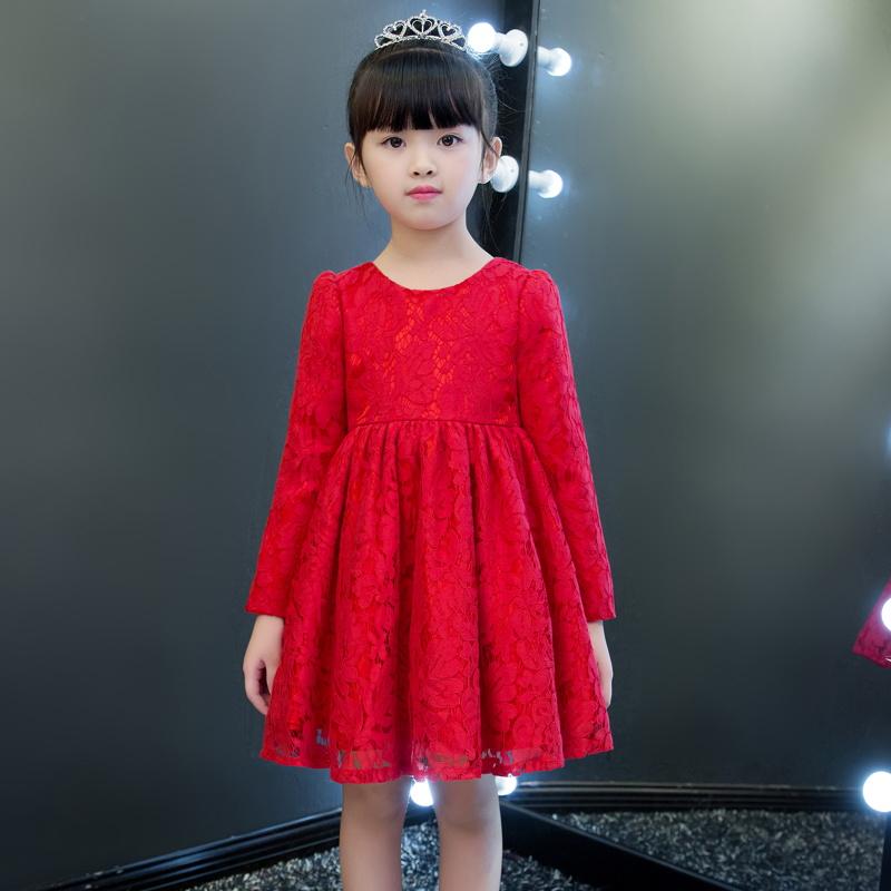 宝宝春装新女童超洋气裙子夏中大儿童连衣裙红色小女孩公主裙礼服