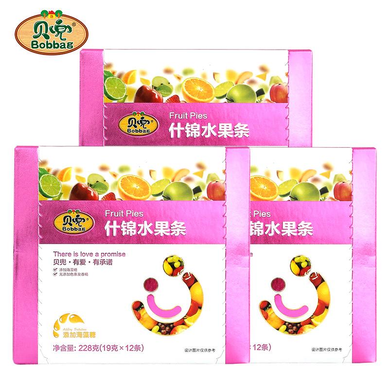 贝兜 水果条儿童果泥果汁果丹皮零食三盒装【送非婴儿宝宝辅食】