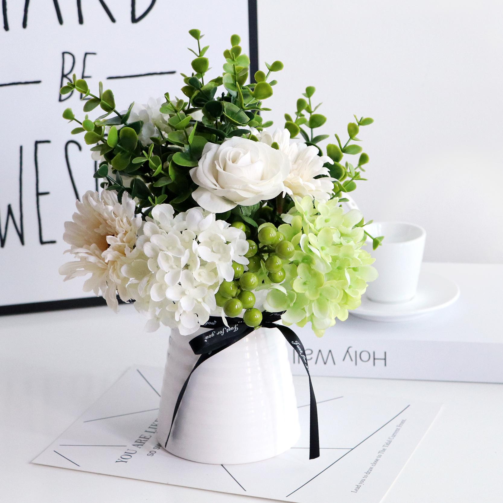 仿真假花束藝裝飾餐桌臥室玫瑰北歐小清新盆栽茶幾客廳家居擺設件