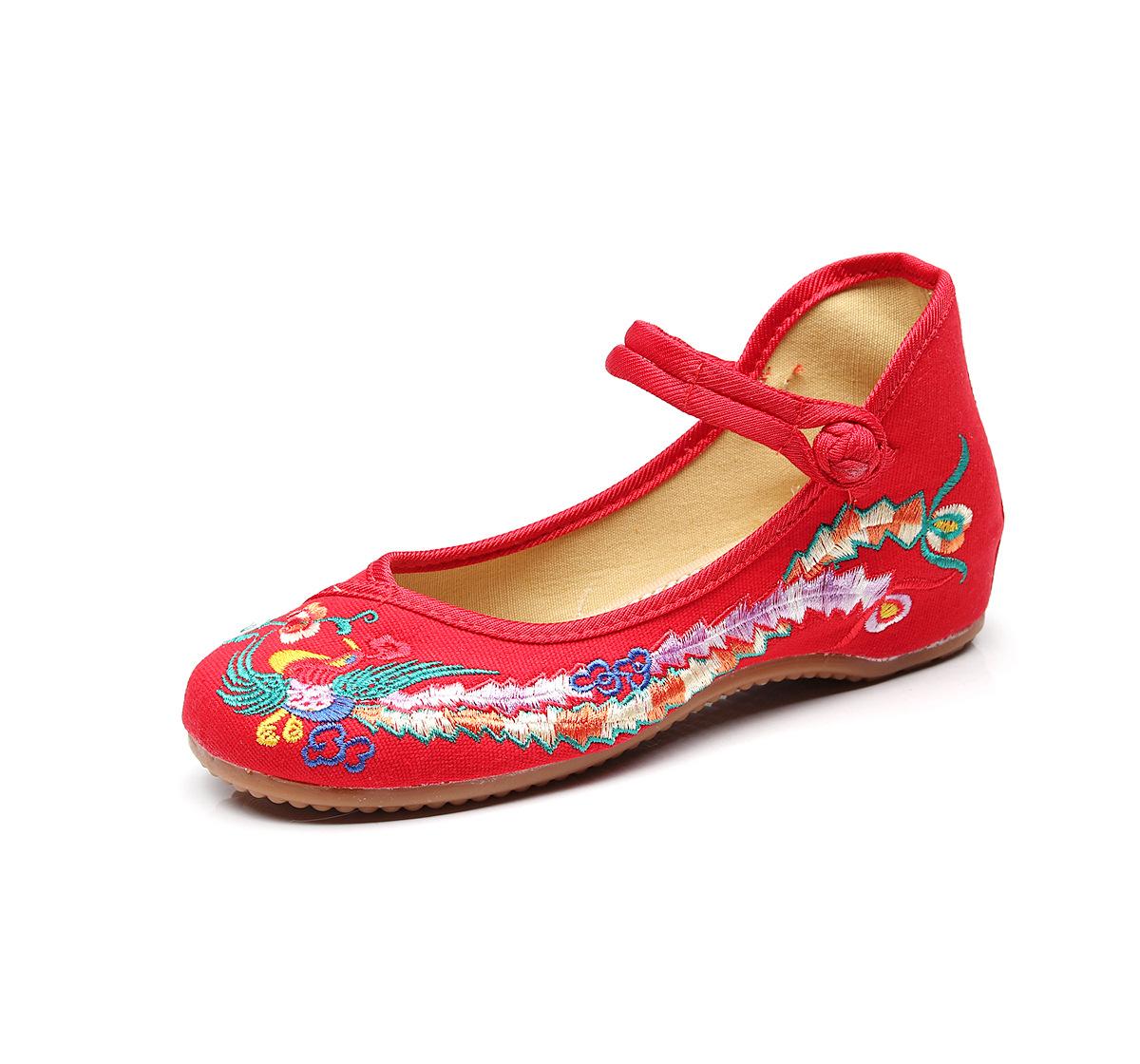 女士低帮鞋绣花鞋帆布鞋广场舞蹈鞋太阳花梅花芙蓉花凤凰彩凤迦叶