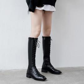 大码及膝长靴秋冬纯皮圆头粗跟中跟系带骑士靴女小个子中筒英伦风