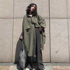 秋季2019新款韩版学生流行风衣外套女中长款工装宽松百搭秋装大衣