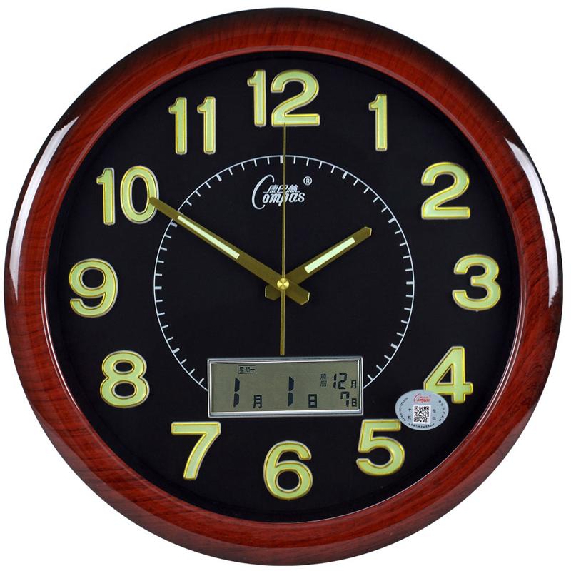 康巴絲掛鐘夜光靜音萬年曆創意時尚簡約客廳臥室現代電子日曆鐘錶