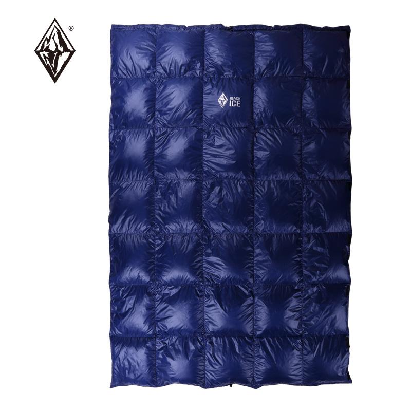 黑冰新款戶外超輕雙人羽絨被成人睡袋室內露營加厚片保暖白鵝絨