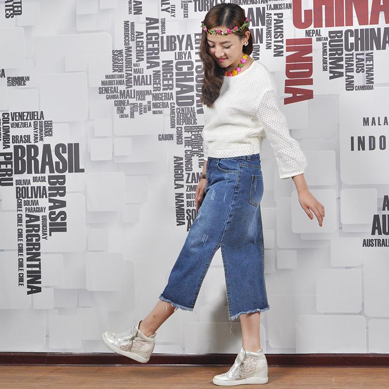 高腰一步裙开叉显瘦 学院风 新款韩版 2017 牛仔半身裙中长款夏季女
