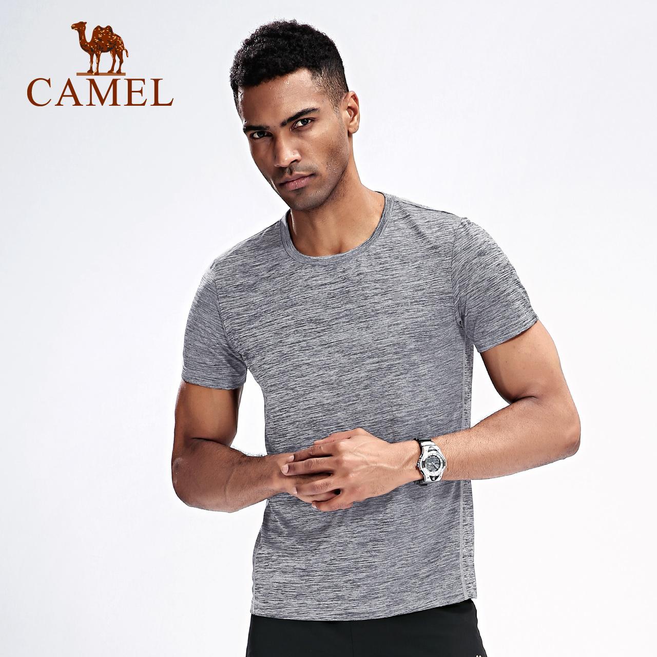 骆驼运动短袖男士圆领户外夏透气宽松跑步运动快干t恤女士体恤