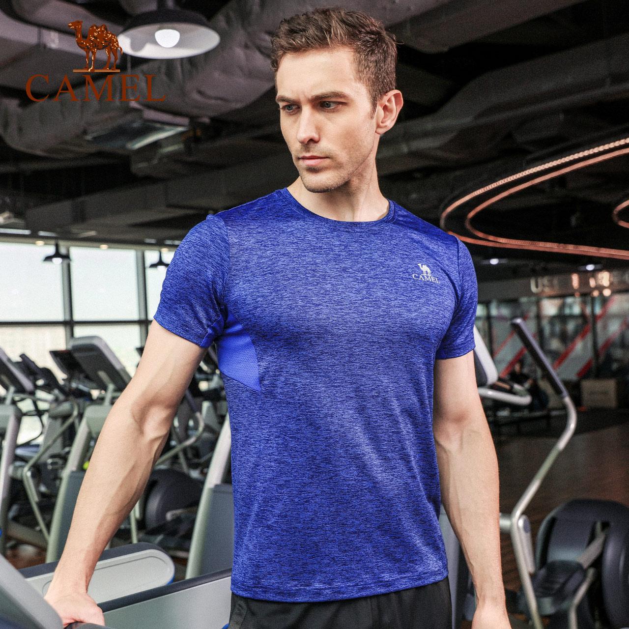 【2018新品】骆驼健身服春夏男款跑步吸汗速干紧身衣短袖运动T恤