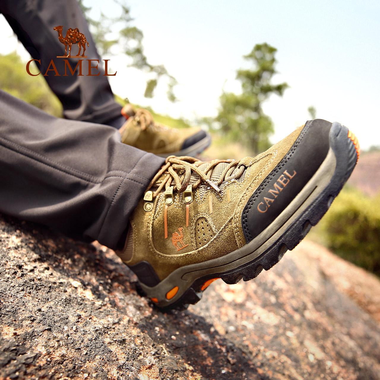 骆驼户外登山鞋男女防滑减震户外鞋低帮牛皮徒步鞋秋冬新款男鞋潮