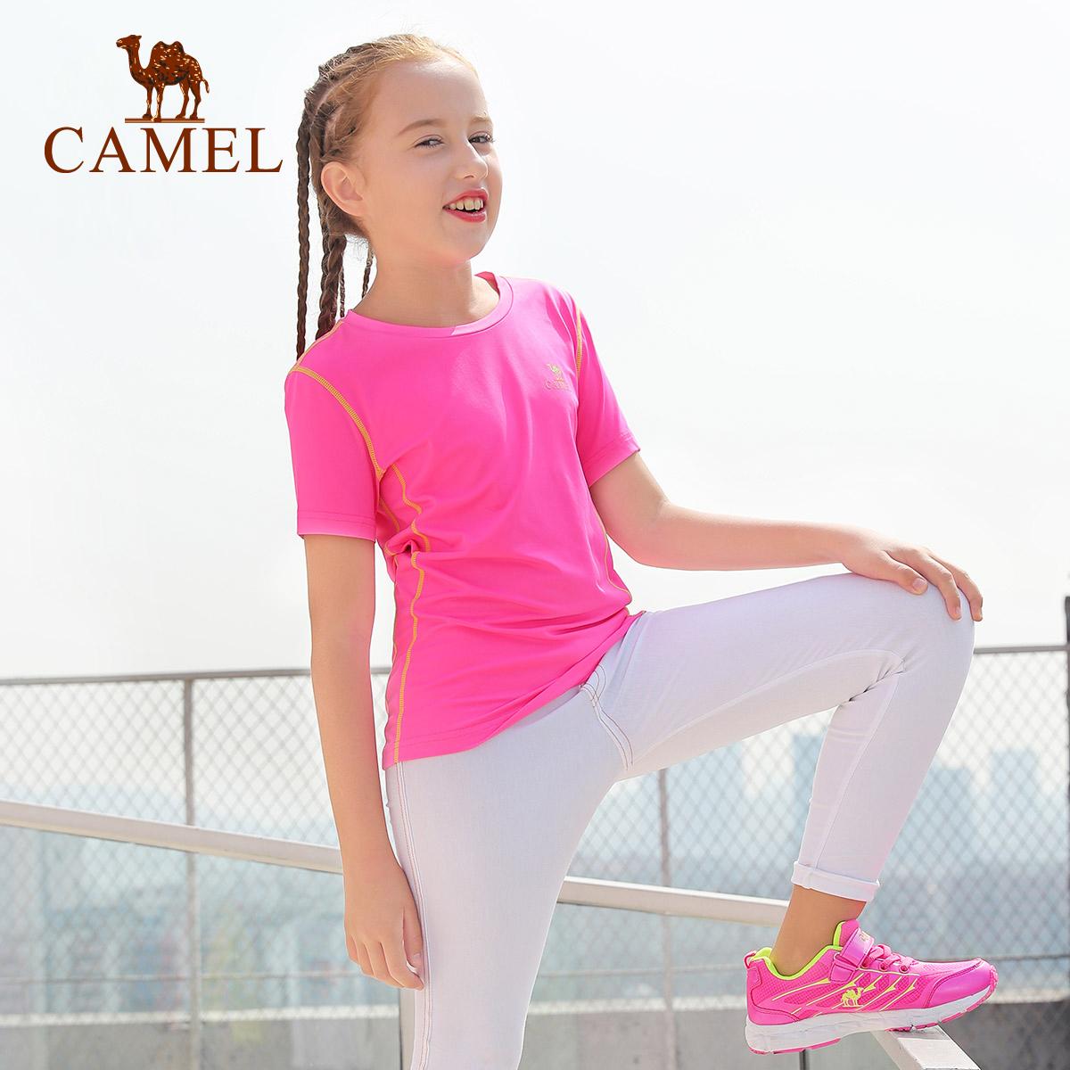 CAMEL 骆驼春夏男女童短袖T恤 儿童套头圆领透气吸汗休闲运动上衣