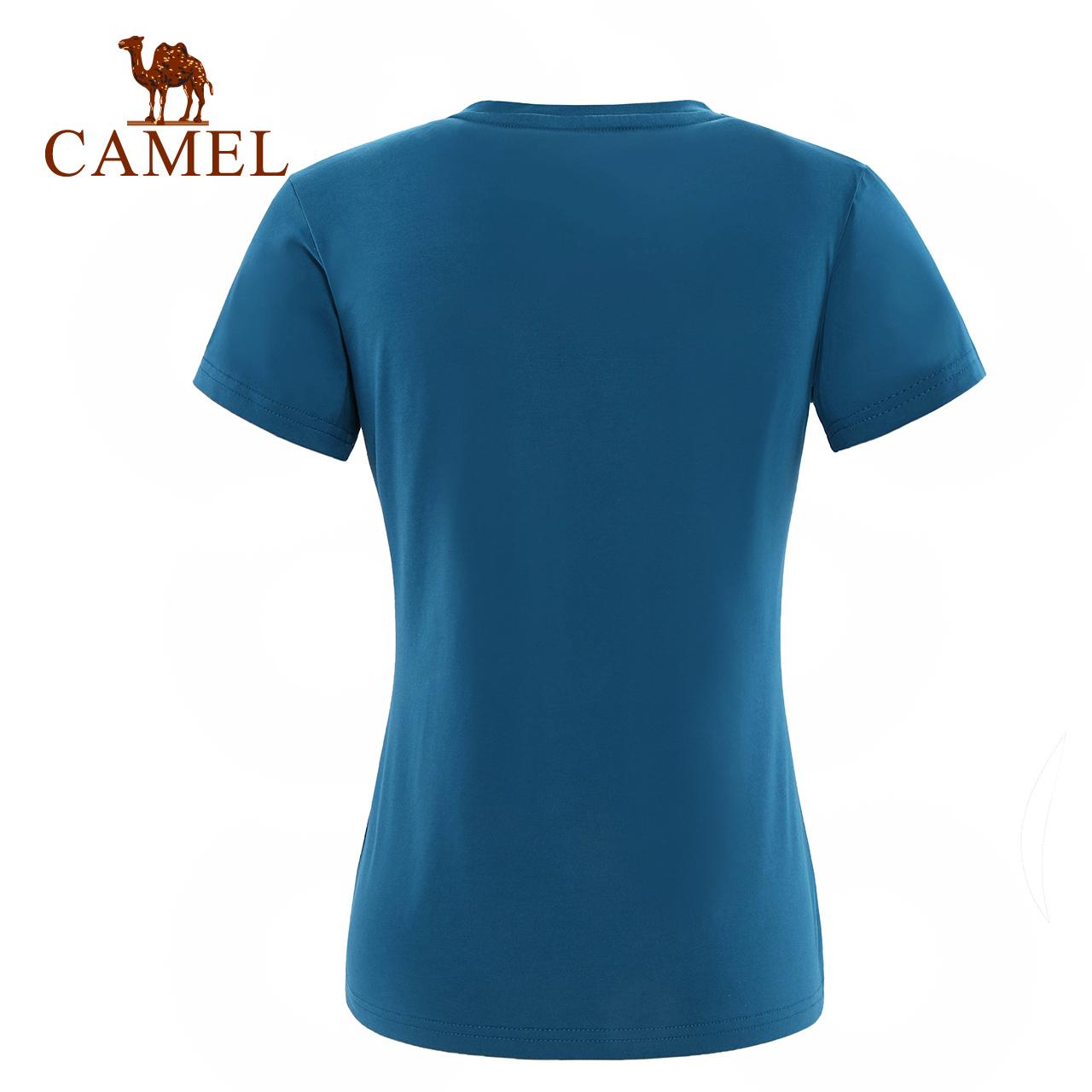 CAMEL骆驼户外休闲T恤 女款春夏透气舒适短袖T恤圆领跑步运动T恤