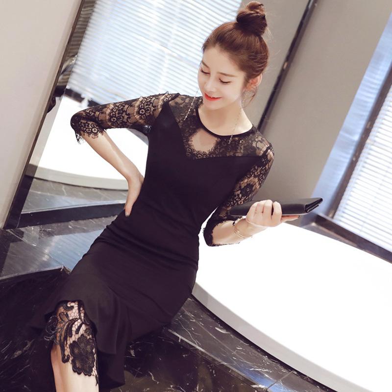 秋装2021新款韩版女装时尚性感鱼尾气质修身镂空包臀荷叶边连衣裙