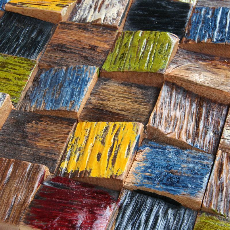 彩色实木马赛克电视背景墙吧台客厅装饰材料新古典风化船木马赛克