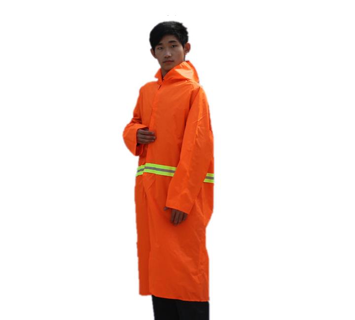 夜光路政长款连体大褂雨衣环卫反光保洁服成人男加厚加大风衣雨披