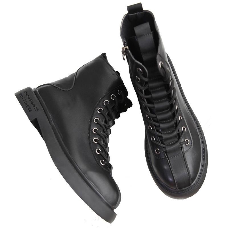 英伦风马丁靴女 秋新款显瘦小百搭厚底单短靴冬加绒靴子鞋  ins2020