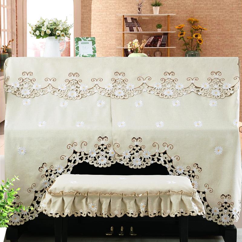 一朵 钢琴罩全披防尘罩 雅马哈欧式钢琴罩半罩 创意刺绣钢琴全罩