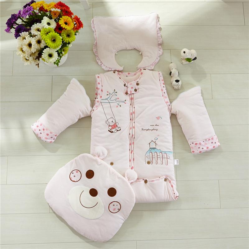 婴童睡袋儿童多功能成长睡袋纯棉宝宝春秋冬保暖小熊带袖可拆睡袋