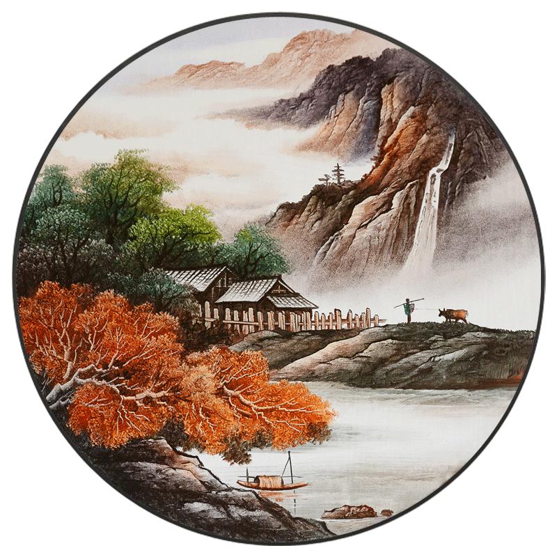 雅创新中式手绘玄关装饰画山水油画招财风水圆形现代客厅家居挂画