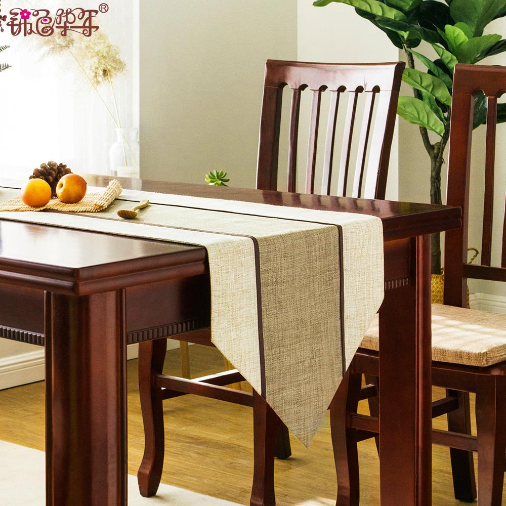 現代簡約布藝會議桌旗中式禪意餐桌旗布茶几電視櫃餐桌裝飾布長條