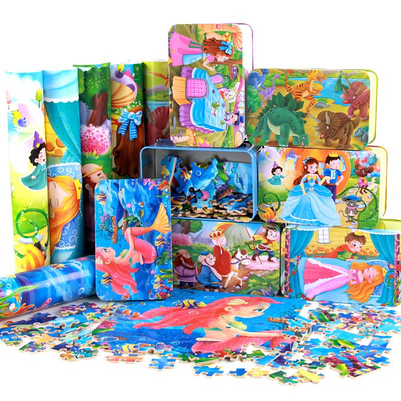 儿童拼图铁盒装木质3-4-5-6-7-8-10岁男孩女孩益智力玩具片1002